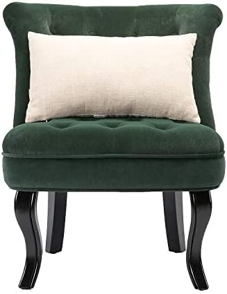Green Upholstered Chair Set of 2 Jane Tufted Armless Accent Chair
