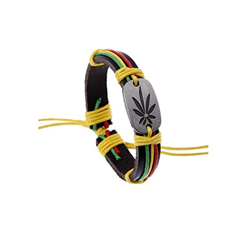 [Most Beloved Pot Leaf Bracelet Leather Multilayer Braided Friendship Bracelets] (Homemade Hippie Costumes Ideas For Women)