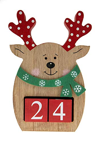 "Count Down Reindeer Advent Calendar Blocks | Days Until Christmas| 100% Wood Build | Red & Brown Chubby Reindeer Decor | Measures 4"" x 6.25"" 