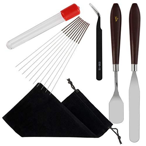 3D Printer Nozzle Cleaning Kit - obmwang 10PCS 0.4mm Needles, 2PCS 3D Print Removal Tools and 1PC Curved Tip Tweezer - 3D Printer Cleaner Accessories Drill Bits Needles (Gift: Black Pouch)
