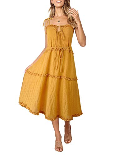 ZESICA Women's Summer Adjustable Strappy Backless Irregular Hem Beach Swing Casual Midi Dress Yellow ()