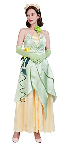 Frog Princess Costume for Women, Deluxe Tiana Cosplay Dress Hand Sewing Leaf Design -