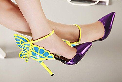 Europa und die Vereinigten Staaten Schmetterlingsflügel Glanzleder-Frauen mit spitzen Schuhen Lila