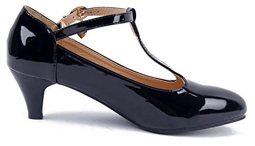 AgeeMi Shoes Women Pointed Toe Kitten Heel T-Strap Party Pumps With Metal Buckle Black wLZozxp
