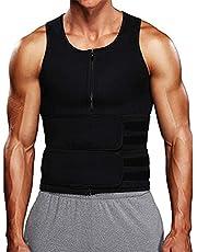 Heren zweetvest pak taille trainer sauna vest voor mannen taille trimmer riem afslanken body shaper training tank top sauna pak met rits taille trainer voor mannen