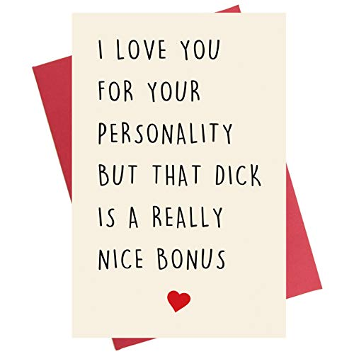 Naughty Anniversary Card, Funny Rude Birthday Greeting Card for Husband Boyfriend Him Fiance Men