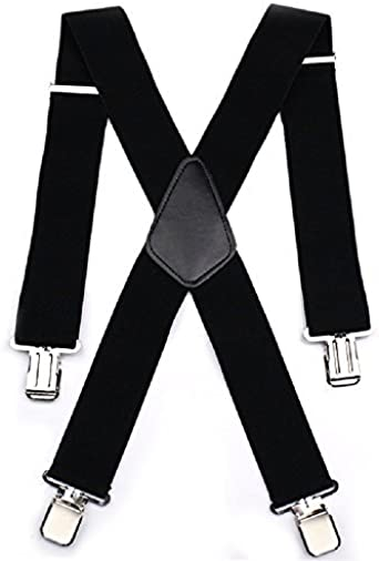 Mens 50mm Wide Braces Plain Heavy Duty Suspender Elastic Adjustable