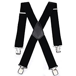 Aulola® Mens X Shape Braces Adjustable and Elastic Suspenders with A Very Strong Clips