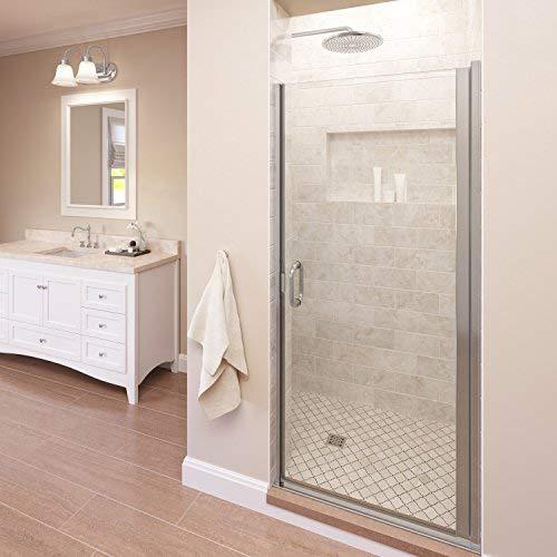 (Basco Infinity 27- 28 in Width, Semi-Frameless Shower Door, AquaGlideXP Clear Glass, Silver Finish)
