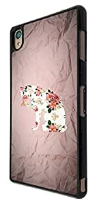 483 - Cute Cat Floral Roses Pattern Design For Sony Xperia Z1 Fashion Trend CASE Back COVER Plastic&Thin Metal