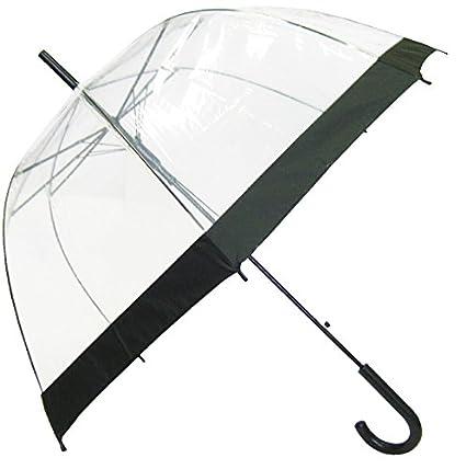 SMATI Paraguas largo transparente forma de campana automático-estampado (Transparente)