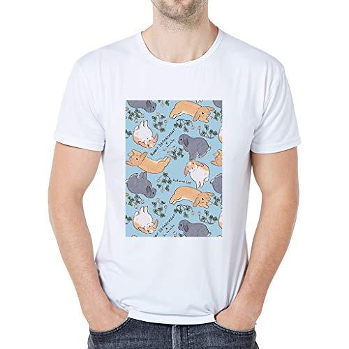 iHPH7 T-Shirt Men Short Sleeve Tee Fashion Cartoon Animal Print XXL 1- White -