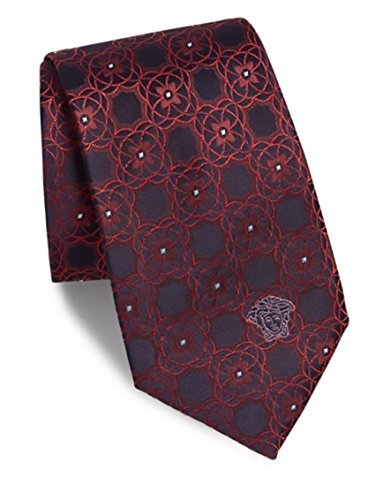 Versace Men's Medallion Pattern Silk Tie, OS, Red by V1969 by VERSACE