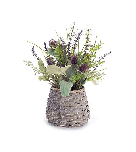 Melrose Pack of 4 French Country Green Artificial Herb and Thistle Baskets - Thistle Basket