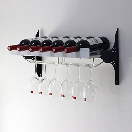 Wrought Iron Black/White Wall Mounting 2 Colors Optional Multi-Functional Wine Holder Strong Gravity Applicable to Most Wines (Color : Black)