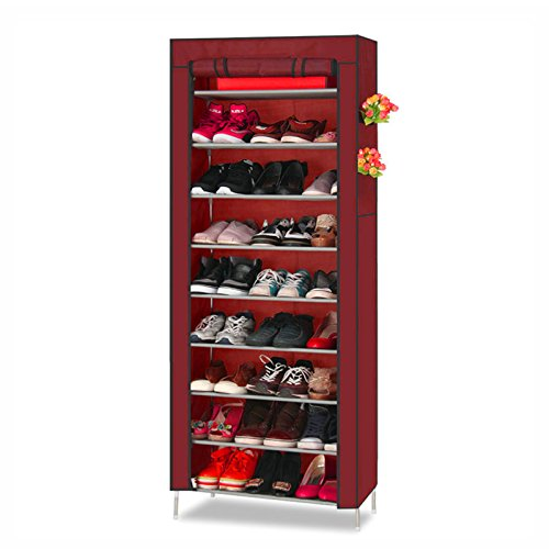 Acorn Fort S202 10 Tiers Shoe Cabinet Tower Storage Organizer Shoe Rack Stand 58 x 28 x 170cm with Oxford Fabric Dustproof Cover Hold Up To 30 Pairs Shoes (Red)