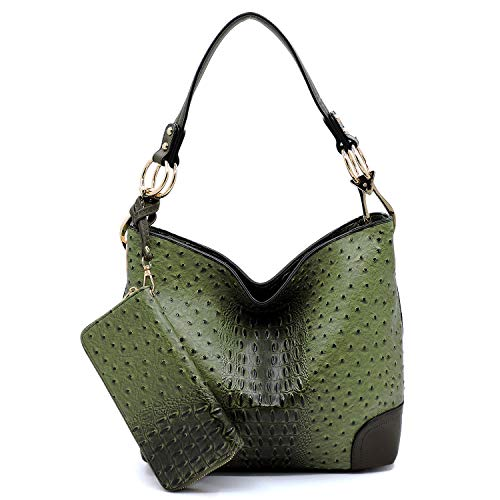2 PC Set Ostrich Croco Embossed Vegan Faux Leather Hobo Shoulder Bag Classic Bucket Purse with Matching Wallet (GREEN)