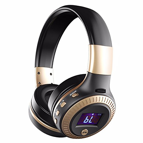 Over Ear Headphones, EIVOTOR Foldable Wireless Headset with Microphone LCD Display Wired and Wireless Mode for iPhone Android Tablet PC (Folding Headphone Titanium)