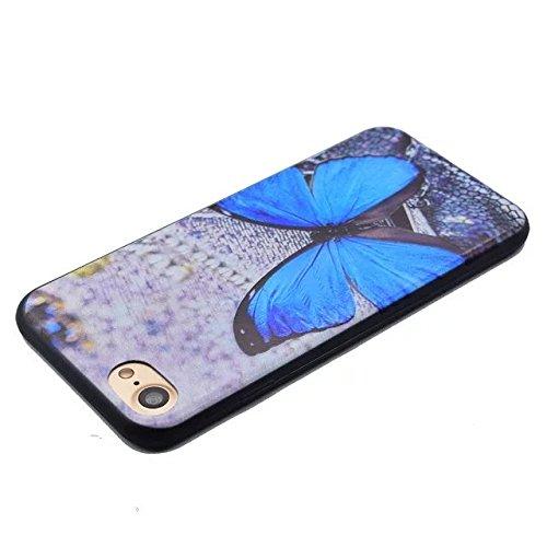 Etsue Caso para iPhone 6 Plus,6S Plus(5.5 Pouce),Funda de silicona TPU Negro Fondo Colorido Patrón de la Caja Ultrafina para iPhone 6 Plus,6S Plus(5.5 Pouce),Suave Diáfano Negro Patrón para iPhone 6 P Mariposa azul