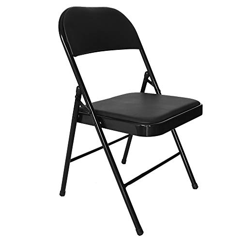 (C-Easy Multifunctional Backrest Folding Chair Casual Office Training Chair, Super Load-Bearing Chair Steel Plate Base Leisure Office Stool, 30 x 18 x 17 Inches, Black Steel Plate Base)