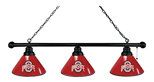 Ohio State 3 Shade Billiard Light with Black Fixture by Holland Bar Stool