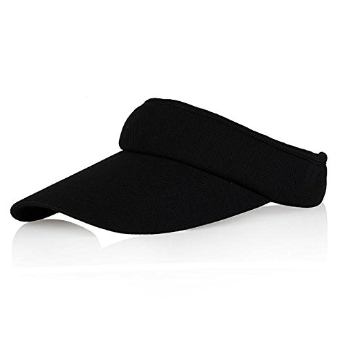 Black Sun Visors for Women and Girls, Long Brim Thicker Sweatband Adjustable Hats Caps for Cycling Fishing Tennis Running Jogging and Other Sports