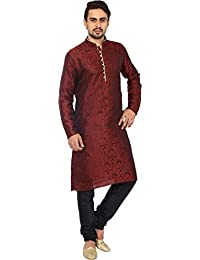 Kurta Men's Jacqaurd Silk Festive Wear Kurta Pyjama Set