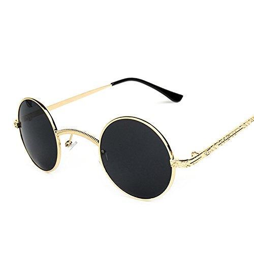 B dressy Steampunk Sunglasses Retro Round Frame Metal Frame Men and women Sunglasses Prince mirror 3053,Golden frame red (Halloween Crossfire)