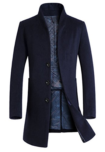 Lavnis Men's Trench Coat Long Wool Blend Slim Fit Jacket Overcoat Size Thicken Style Style 1 Navy Blue XL -