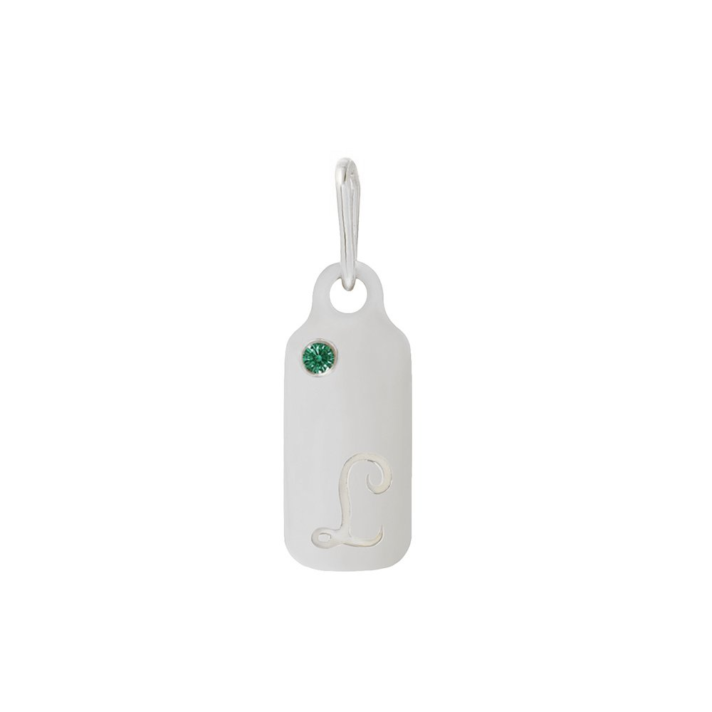 14k Gold Emerald May Birthstone Cursive Letter L Dog-tag Necklace