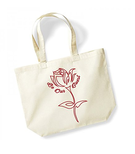 Be Our Guest - Large Canvas Fun Slogan Tote Bag Natural/Red