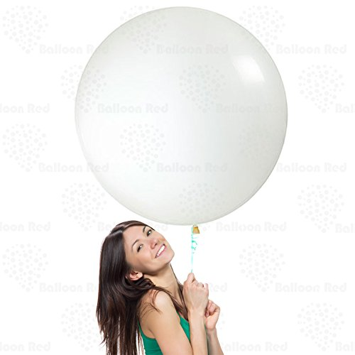 36 Inch Giant Jumbo Latex Balloons (Premium Helium & Confetti Quality), Pack of 3, Round Shape - Clear