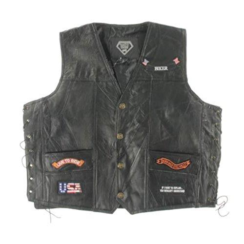 Diamond Plate Mens Leather Patches Vest Black XL