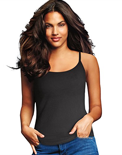 Maidenform 2-Pack Womens Size Large Cotton Stretch Camisole, Black/White