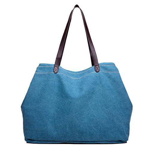 Compartimiento Bandolera Bolso Mujer Bolsos Azul Lago Con Tela Linnuo Mano De Grandes Lona 0ZwaA