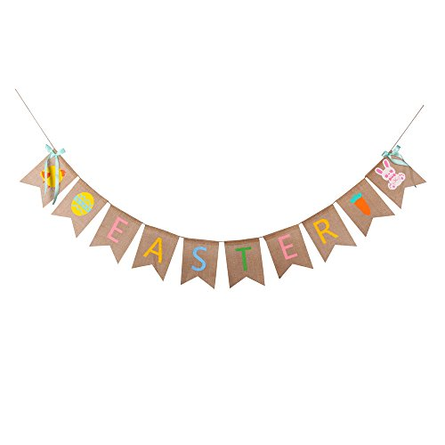 GOER Natural Burlap Banner for Easter Decorations,Easter Eggs Bunny Carrot and Chick Pattern Bunting Banner ()