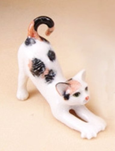 (3 D Ceramic Toy Lazy Cat No.1 Dollhouse Miniatures Free Ship)