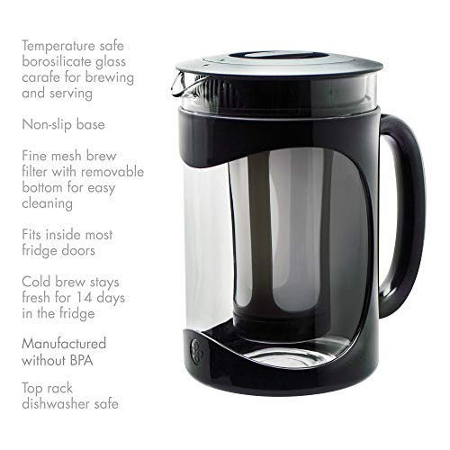 Primula Burke Deluxe Cold Brew Iced Coffee Maker, Comfort Grip Handle, Durable Glass Carafe, Removable Mesh Filter, Perfect 6 Cup Size, Dishwasher Safe, 1.6 Qt, Black