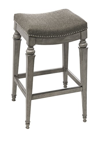 Cheap Hillsdale 5606-826 Vetrina Backless Non-Swivel Counter Stool with Fabric, Weathered Grey