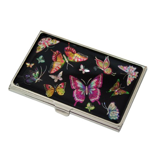 Mother of Pearl Butterfly Design Womens Black Business Credit Name ID Card Holder Case Metal Stainless Steel Engraved Slim Purse Pocket Cash Money Wallet Butterfly Business Card