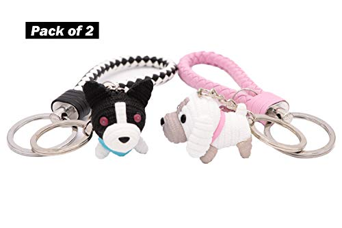 AVEC JOIE Husky and Labrador Retriever Dog Keychain for Women Couple key Chain charms with Leather Key Ring Strap 3D Animal Pendant Car Circle Key Rings Purse Bag Handbag Pendant ()