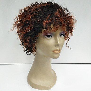 MZP Mujer Pelucas de Cabello Natural Cabello humano 130% Densidad Produndo Afro Peluca Negro Azabache
