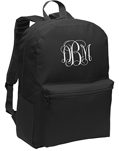 Personalized Black Two Pocket Backpack with Embroidered Vine Monogram on Top Pocket