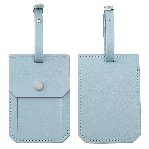 Leather Luggage Tags for Men Women, Suitcase Labels Baggage Tote Bag Tag ID Tags with Full Back Privacy Cover for Carnival Cruise Ships, Travel Accessories Tags Set of 2 PCS (Sky Blue 4)