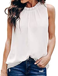 MODARANI Women Summer Halter Chiffon Tank Tops Solid Color Casual Pleated Front Shirts