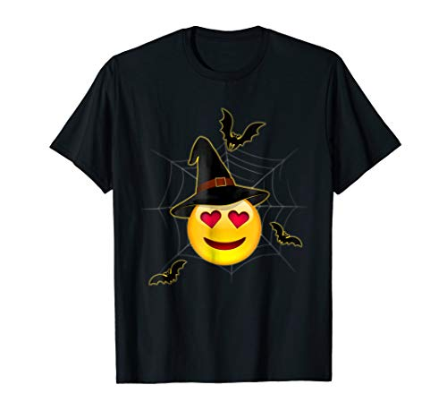 Halloween Emoji Witch Smiling Face With Heart-Eyes T-Shirt ()