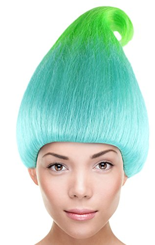 Troll Doll Costume (Chestnut Cone Wig Synthetic Hair w/Wig Cap Cosplay Costume Party Halloween Ombre Hairpiece for)