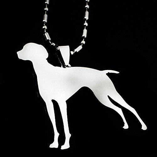 (Stainless Steel Vizsla Dog Hungarian Vizsla Hungarian Pointer Magyar Silhouette Pet Dog Tag Breed Collar Charm Pendant Necklace)