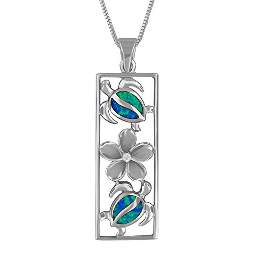 (Sterling Silver Synthetic Blue Opal Vertical Turtle and Plumeria Pendant Necklace, 16+2