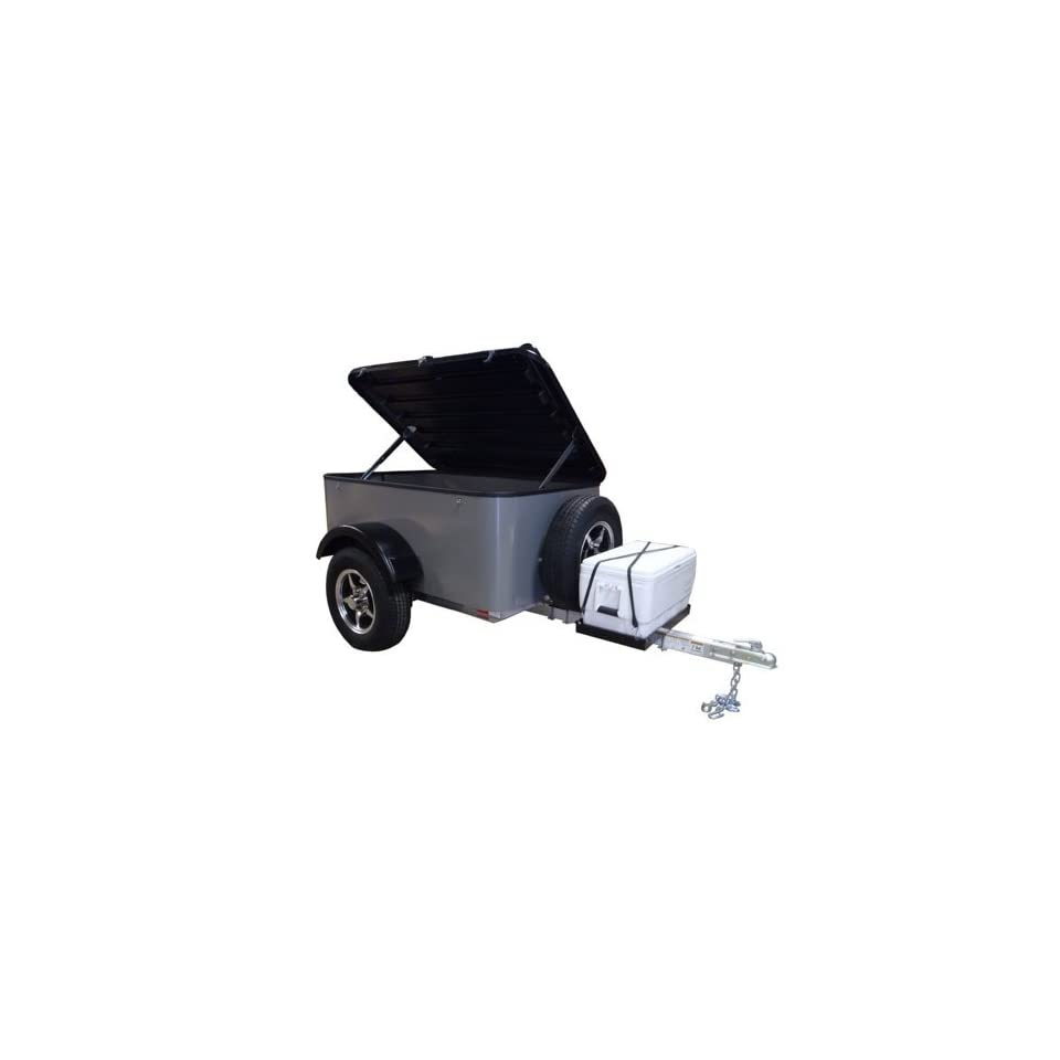 Hybrid Trailer Co. Vacationer with Spare Tire and Cooler Tray   Enclosed Cargo Trailer, 990 lbs. Gross, 30 cu/ft.   Pewter